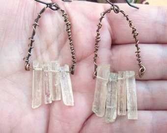 Minimalist, primitive and urban earrings !!!!  The Crystal Of Water ....
