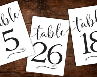 Instant Download Printable Table numbers 1-30 - Script Calligraphy Black White Table Numbers - Wedding Table Numbers - 5x7 and 4x7 Table Nos