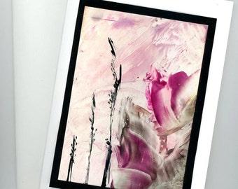 Encaustic art card, greeting card, handmade card, frameable card, encaustic painting
