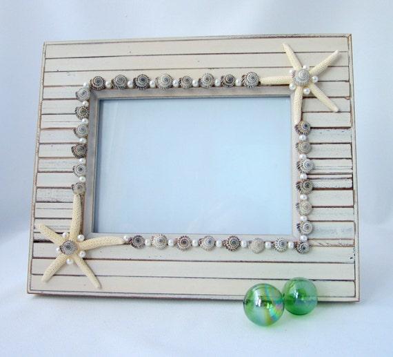 Beach House Decor Seashell Picture Frame, Nautical Decor Shell Frame, Seashell Frame, Shell Photo Frame, Barnwood Frame  5x7 - #SANF57