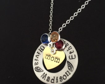Personalized Necklace- mom necklace with birthstone, gift for mom necklace