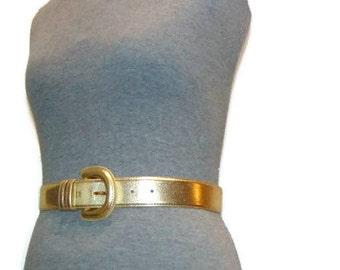 Vintage Gold Belt Vegan Leather Belt Skinny Gold Belt Vintage Belts For Women Vintage Waist Belt Vintage Womens Belts Ladies Belts