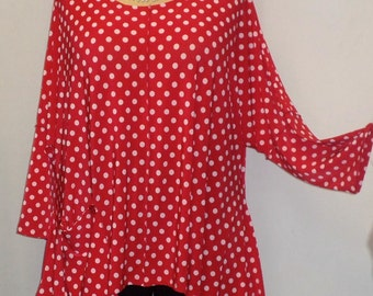 Coco and Juan Lagenlook Plus Size Top Red and White Polka Dot Angled Tunic Top One Size Bust  to 60 inches