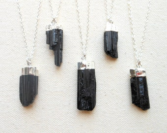 Tourmaline necklace silver dipped raw black tourmaline necklace sterling silver necklace mineral specimen