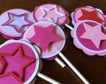 Star Party Cupcake Toppers, American Birthday Party, Girl Doll Party, Star Cupcake Toppers, Star Party Decor, Pink Star Toppers, Set of 12