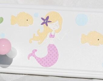 """18"""" Peg Rack . Personalized Coat Rack . Mermaid with Blonde Hair  . In Pink"""