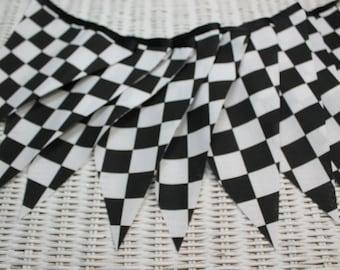 Free USA Shipping/Fabric Banner/Racing Fabric Banner/Black and White Fabric Banner/Race Car Fabric Banner/Race Theme Nas car Party Banner