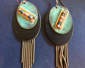 Vintage Native American Style Modernist Chandelier Earrings