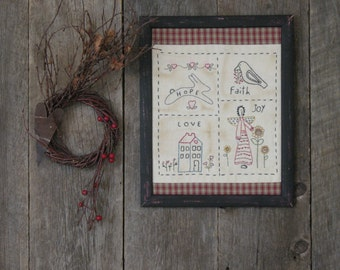 Primitive Stitchery, American Folk Art Sampler, Hand Embroidery, Americana
