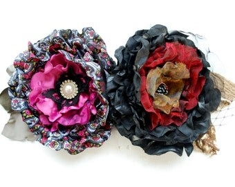 SALE- set of two, black red gold grey pink taffeta satin flower, weddings accessories, bridesmaids, bridal hair clip, head piece, black rose