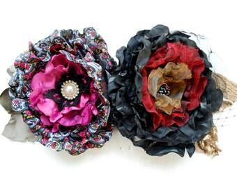 SALE- set of two, black red gold grey pink taffeta satin flower, weddings accessories, bridesmaids, bridal hair clip, head piece, black rose
