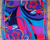 Vintage Designer Scarf Silk Scarf Oscar de la Renta Floral Boho Eye Popping Hot Pink Purple Aqua