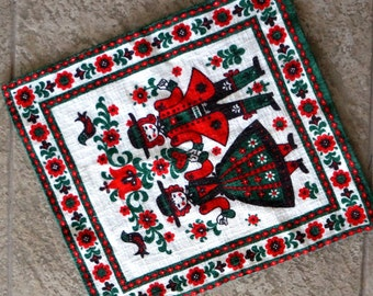 Vintage Swedish Textile Pillow Cover Table Decor Scandinavian Flowers Man Woman Red Green