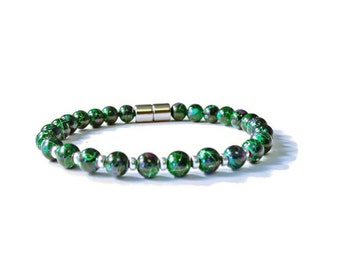 Green Picasso Magnetic Hematite Bracelet, Arthritis Pain Relief Jewelry