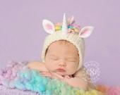 Unicorn Bonnet and Blanket Set (pastel version) Newborn Photography Prop