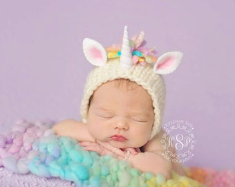 Unicorn Bonnet and Blanket Set (pastel version) Newborn Photography Prop