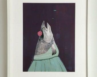 Salmon / Animal Art // Original Painting // Watercolor // Gouache // 11x14