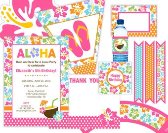 Luau Hawaiian Theme Birthday Party Kit - editable invitation - 15 pcs digital files