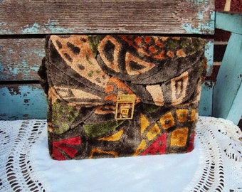Vintage Carpet Bag Handbag Purse Velour Velveteen Material Mid Century Mod Accessory Retro Bohemian Chic Hippie 1950s 1960s