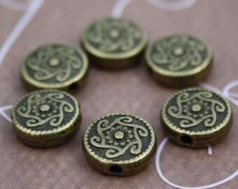 Pack of 20 – Antique Bronze Zinc Alloy Flat Beads
