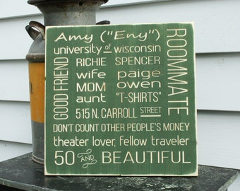 CREATE YOUR OWN Square Custom Subway Sign Landmark Words Phrases Mother Friend Family Wood Gift - 16x16 Carved Distressed Wooden Sign