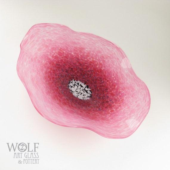 MADE TO ORDER Blown Glass Wall Art Opaque Pink Poppy Flower Wall Art Decor