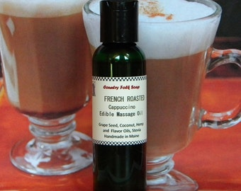 FRENCH ROASTED Coffee Massage Oil - Cappuccino Massage Oil - Coffee Flavored Body Oil