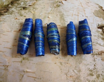 1 Dread bead Blue and Green Handmade Bead Cuff for Dreadlocks. Bead for dreads. Dreadlock bead accessories and decoration. Ready to Ship