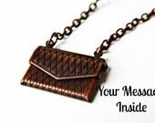 Brass Envelope Locket Secret Message, Personalized Necklace, Customizeable Jewelry