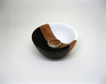 Black, White and Brown Painted Wood bowl Jewelry dish Ring cup mini jewelry bowl holder