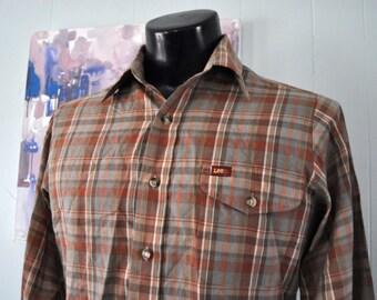 Vintage Plaid Western Shirt by LEE Levis Soft Thin Browns Maroon Red Earth tones Mens Shirt Long Sleeve MEDIUM