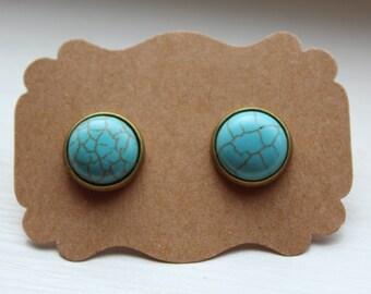 Turquoise Howlite Earrings, Turquoise Earrings, Stud Earrings, Brass Post, Turquoise Post, Brass Turquoise Earrings, Post Stud Earrings