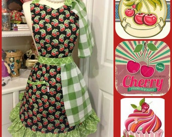 Cherries woman's apron with two detachable towels