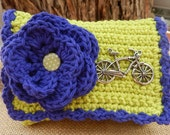 HALF PRICE CLEARANCE  ~  Crocheted Purse  ~ Lime Green and Violet Blue with Silver Bike Pendant Crocheted Cotton Little Bit Purse