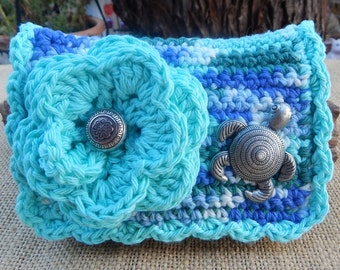 Crocheted Purse  ~  Robins Egg Blue and Variegated with Sea Turtle Crocheted Cotton Little Bit Purse
