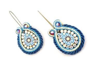 blue beaded drop earrings , soutache drop earrings  , handmade earrings , dangle earrings , dangling earrings  - Johanna - SS 2016 trends