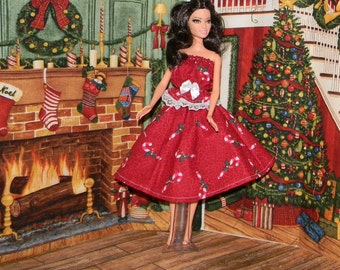BS-45) Original Barbie doll clothes, 1 pretty Christmas skirt and blouse