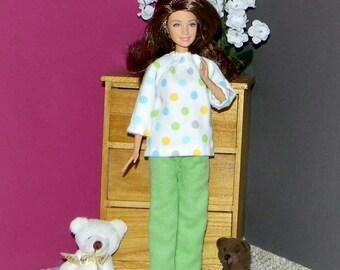 BSPJ-17 ) Barbie flannel pajamas