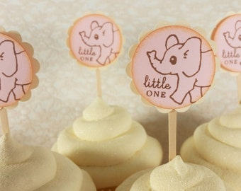 Elephant Cupcake Toppers, Baby Shower, Gender Reveal Party, Birthday, Baby Girl, Cake Toppers, Plant Picks