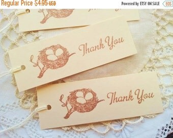SALE Thank You Tags Bird Nest Favor Tags Baby Shower Gender Reveal Or Sprinkle Set of 10