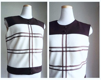 Vintage 1960's Mod Top //  Brown Ivory Color Block Sleeveless Jackie O Style Top // STERLING // Suit Separate // Mad Men