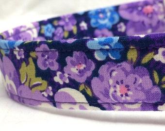 Pretty Purple Flowers Fabric Dog Collar Blue