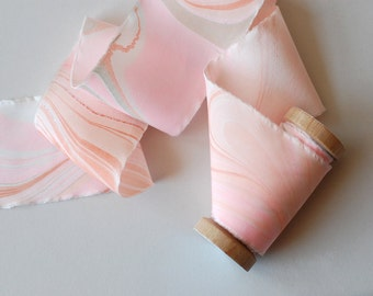 Marbled Silk Ribbon in Spring Pinks