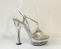 Vintage 90s Rhinestone Silver Clear Lucite Sexy Stiletto Pumps Platform Open Toe High Heels Size 6 1/2 Stripper Punk Rocker Baby Doll Shoes