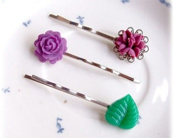Purple Bobby Pin Set Hair Grips Vintage Leaf Flower Filigree Evening Walk Green Floral Botanical Children Girls Women dspdavey Accessories