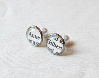 Anne of Green Gables Earrings Double Sided Studs LM Montgomery Text Book Literature Words Silver Pearl Pearls White Handmade Bridal Wedding