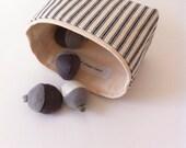 mini fabric storage bin  // small basket //  blue ticking stripe