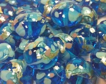 Lot of 10 Murano glass beads Aquamarine style Gustav Klimt - 1709
