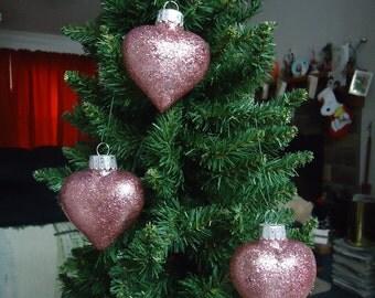 Set of 3 Rose Glass Heart Christmas Tree Ornaments