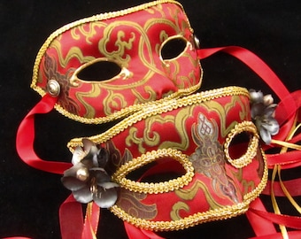 OOAK Game of Thrones Inspired Paired Masks, Red Wedding, Male and Female brocade covered eyemasks in red and gold